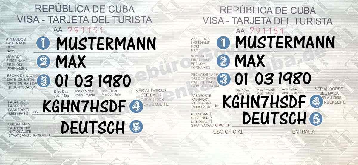 Ausfüllhilfe Touristenkarte Kuba