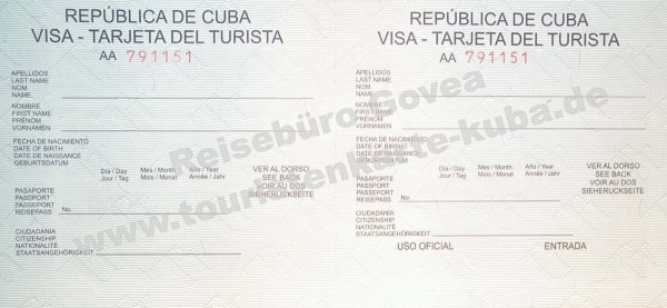 Entry visa for Cuba | A1